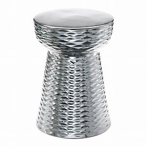Modern silver ceramic garden stool end table kathy kuo home for Silver garden stool