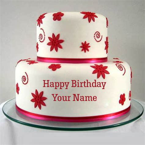 Double Decker Flower Birthday Cake With Your Name