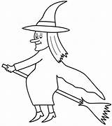 Witch Coloring Broom Witches Halloween Printable Adult Broomstick Hexe Ausmalbilder Flying Spider Cat Templates Zum Drucken Template Konabeun Magic Adults sketch template