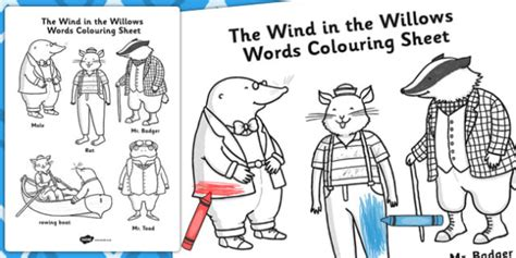 the wind in the willows words colouring sheet colour