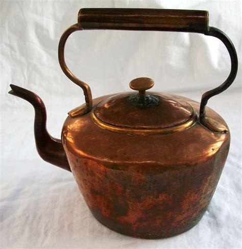 antique tea kettle copper gooseneck teapot  england marked antiques copper  tea kettles