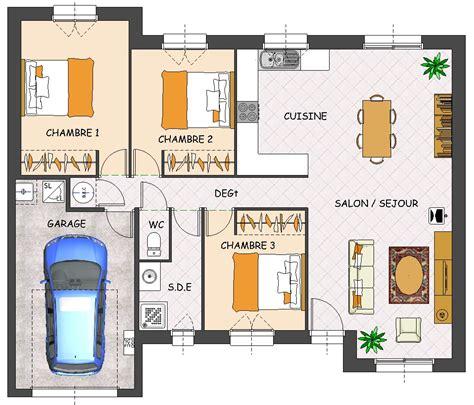 plan de maison plain pied 3 chambres gratuit plans maison plain pied 3 chambres plan maison ossature