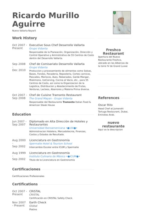 Resume For Executive Sous Chef by Sous Chef Resume Sles Visualcv Resume Sles Database