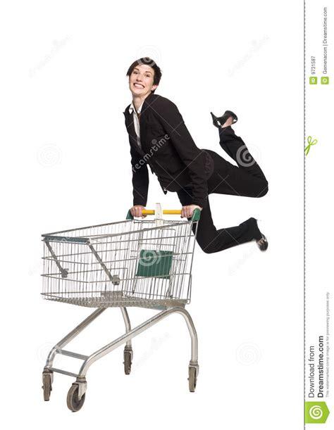 woman   shopping cart royalty  stock photography