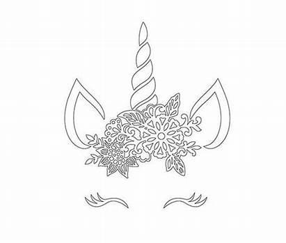 Svg Unicorn Crown Head Face Eyelashes Floral