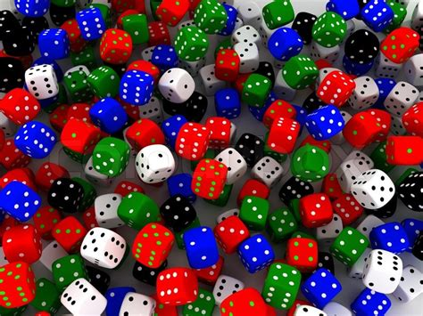 colored dice colored dice put in a bunch 3d render stock