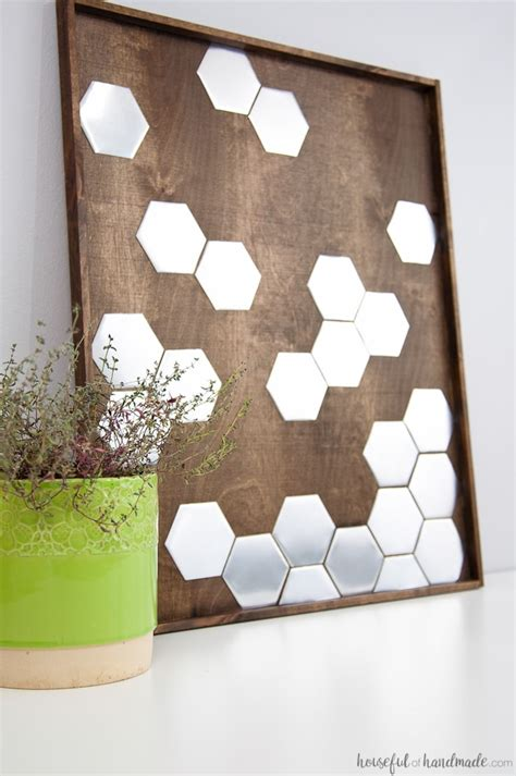 Save money with these cozy rustic home decor ideas! DIY Metal Hexagon Wall Art - a Houseful of Handmade