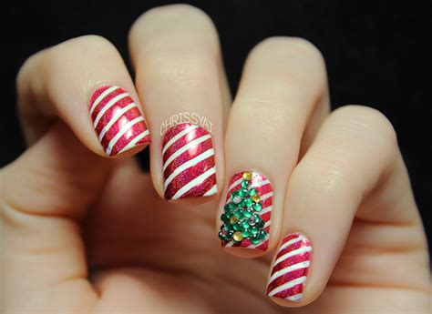 Candy Cane Stripes & 3d Christmas Tree Nail Art