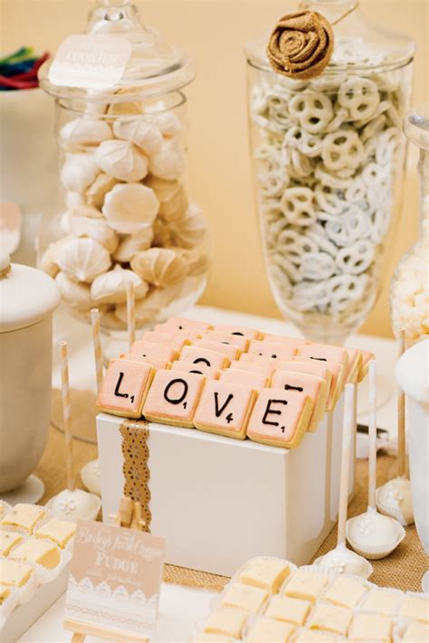 shabby chic wedding food ideas shabby chic scrabble inspired wedding dessert table hostess with the mostess 174