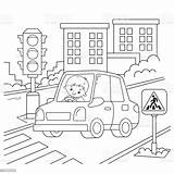 Traffic Coloring Light Road Cartoon Driver Children Outline Vehicle Transport Activity Vector Boys Illustration Cute Playing Vectors Adult Usa sketch template