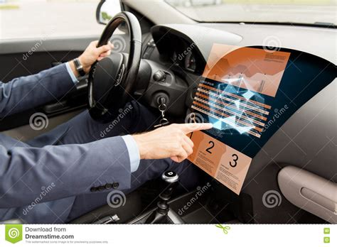 Man Driving Car Pointing Board Computer Stock