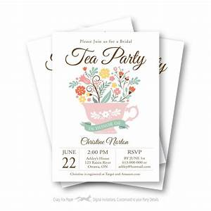 Bridal Shower Tea Party Invitation, Customized Printable ...