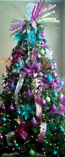 peacock christmas tree teal blue lime green purple