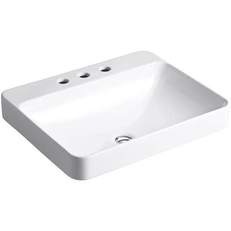 kohler square vanity sink shop kohler vox white vessel rectangular bathroom sink