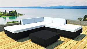 Salon De Jardin Canapé D Angle : salon jardin d 39 angle modulable en r sine noire table basse kulua ~ Teatrodelosmanantiales.com Idées de Décoration