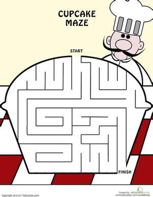 cupcake maze worksheet educationcom