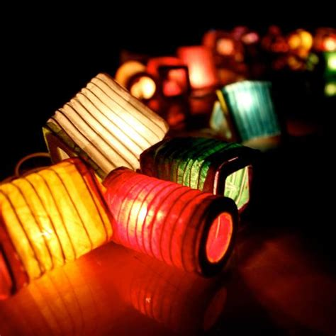 small lantern shaped handmade mulberry paper string lights