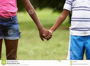 Children In Love Black Boy And Girl Holding Hands Stock ...