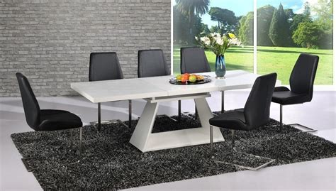 modern white high gloss extending dining table and 8 black