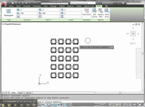 AutoCAD 2012 new feature: rectangular array - YouTube