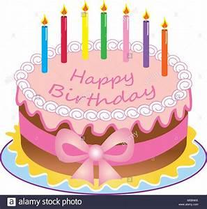 Gateau Anniversaire Dessin Animé : un dessin anim joyeux anniversaire g teau avec des bougies de couleur cerise sucre et ruban bow ~ Melissatoandfro.com Idées de Décoration