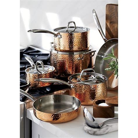 fleischer  wolf seville hammered copper  piece cookware set reviews crate  barrel