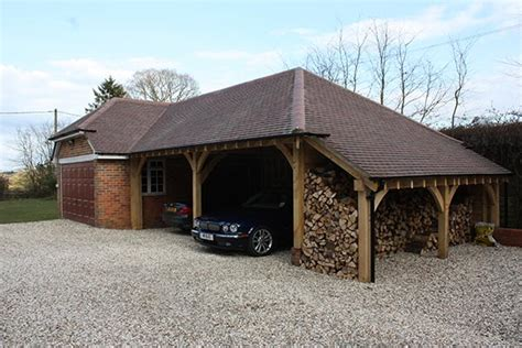 Garage Port by Oak Garage And Car Port With Open Log Store