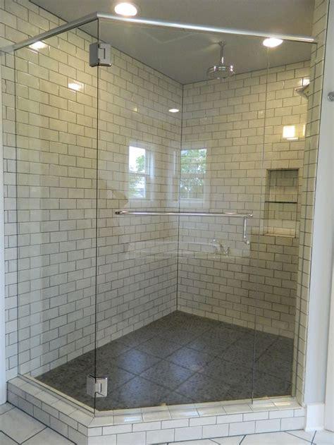 pebbled shower floors  subway wall tile frameless