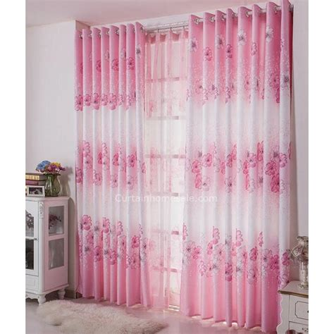 pink and white curtains decorative pink and white curtains floral pattern