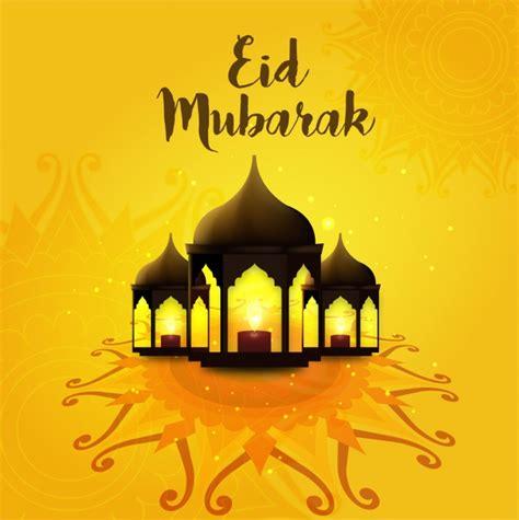 eid mubarak orange background vector