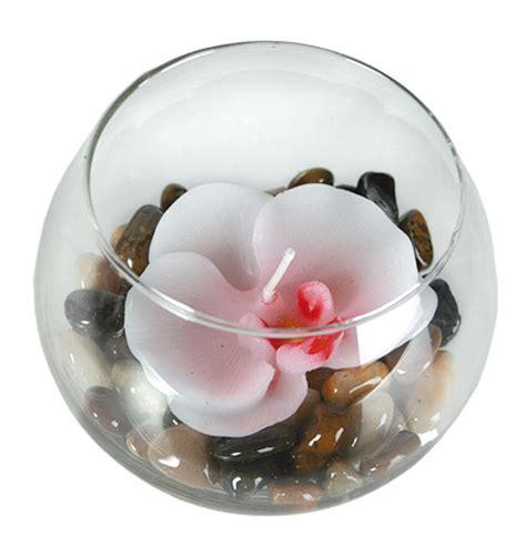 bougie de pas cher le photophore boule rond en verre orchid 233 e et cailloux bougies d 233 coratives mariage