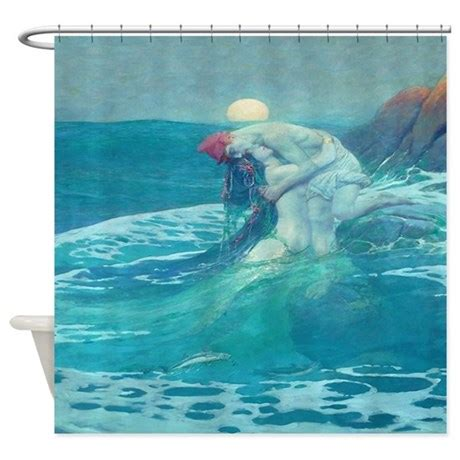 41223 mermaid shower curtain vintage mermaid and mortal shower curtain by rebeccakorpita