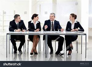 Portrait Smart Business People Sitting Table Stock Photo ...