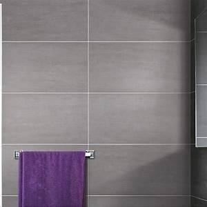 carrelage sol et mur gris clair eiffel l30 x l604 cm With carrelage adhesif salle de bain avec panneau led photo