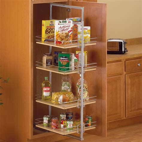 rolling shelves for kitchen cabinets center mount pantry roll out system nickel in pull out 7803