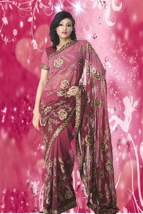 ladies lifestyle pink colour designer sarees