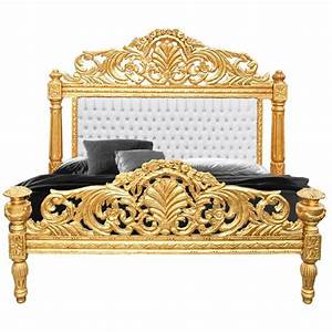 Lit Style Baroque : lit baroque tissu simili cuir blanc avec strass et bois dore ~ Teatrodelosmanantiales.com Idées de Décoration