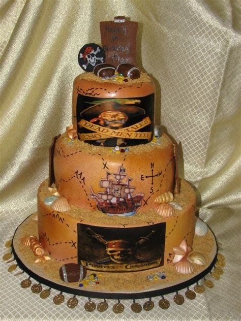 pirate   caribbean  tiered cake party   kid