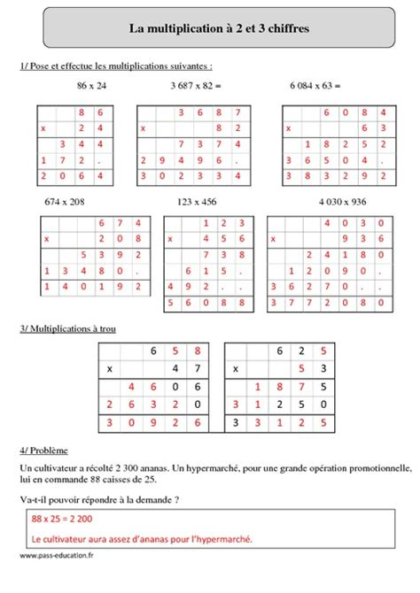 exercices tables de multiplication cm2 a imprimer multiplication 224 2 et 3 chiffres cm2 r 233 visions 224 imprimer pass education