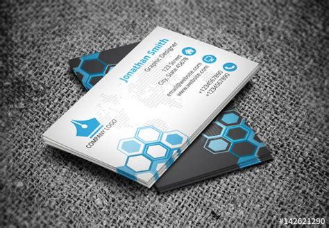 business card layout  hexagonal design buy  stock