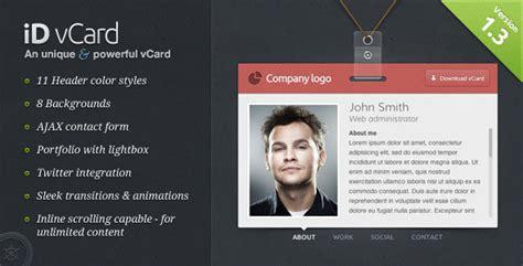 virtual business card vcard html website templates