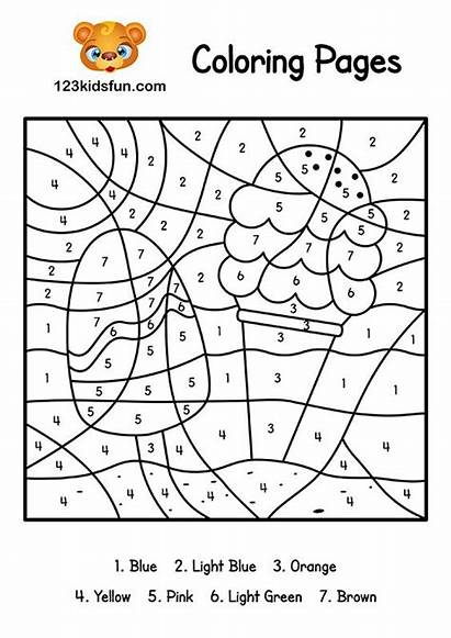 Coloring Number Printable Pages Summer