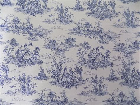 vintage french lovers scenes toile de jouy navy cotton