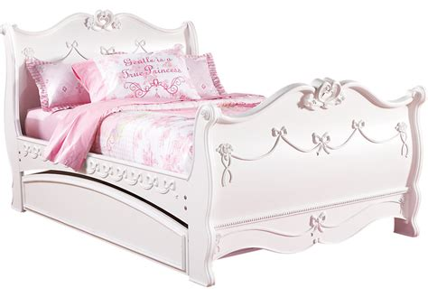 Disney Princess White 4 Pc Full Sleigh Bed w Trundle   Trundle Beds Colors