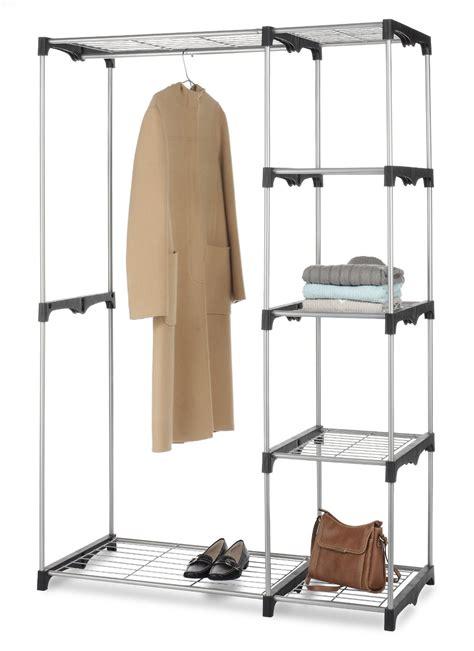 hanging closet rod whitmor rod closet organizer cloth hanging shelf