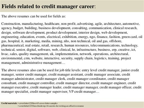 Resume Cover Letter For Credit Manager by Top 5 Credit Manager Cover Letter Sles