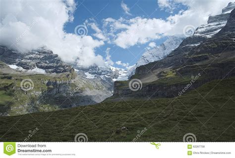Direction Signs Alpine Hikes Alps Switzerland Stock Photo Spectacular Views In The Valley Called Kiental Berner