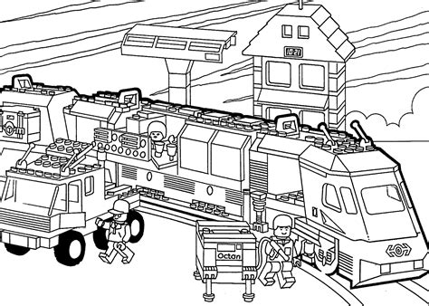 Lego Train Coloring Page For Kids, Printable Free. Lego