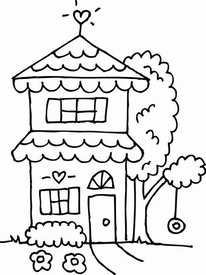 Coloring Clipart Story Outline Clip Houses Line