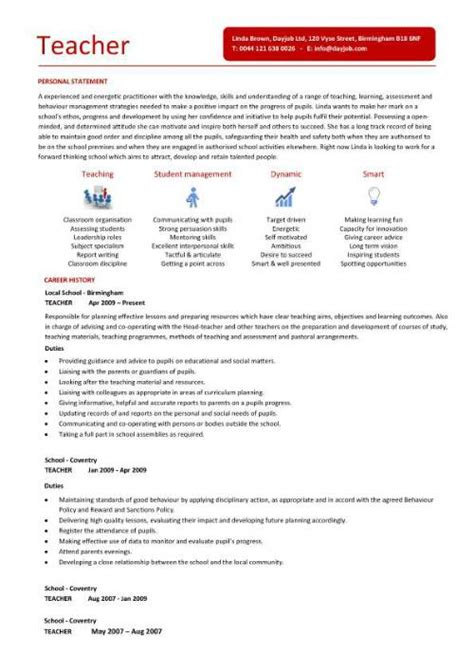 Teaching Resume Template by Teaching Cv Template Description Teachers At School Cv Exle Resume